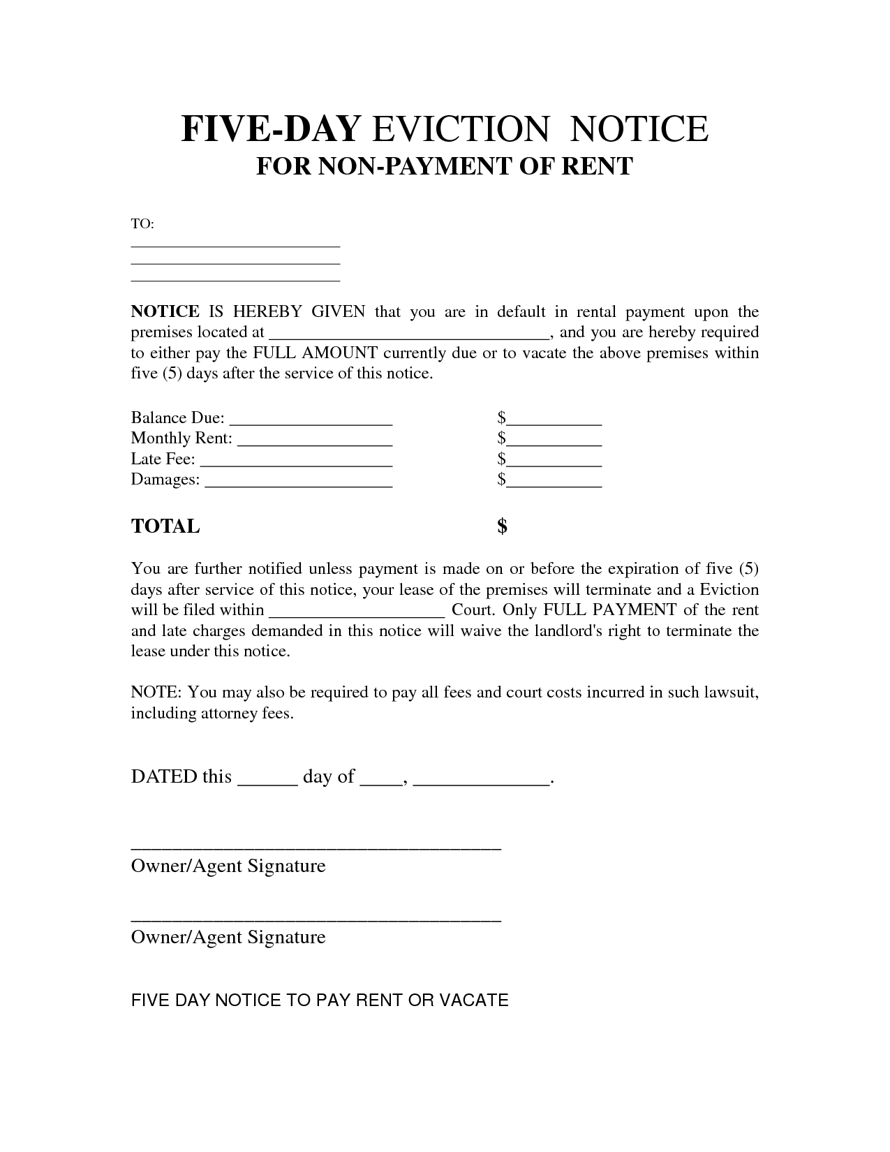 Free Legal Forms For Eviction