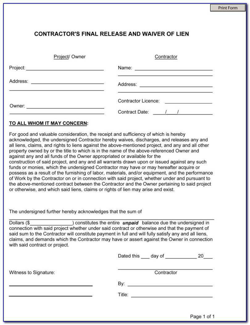 Free Lien Release Form Oklahoma