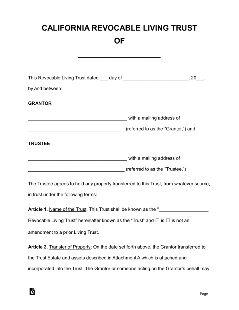 Free Living Trust Forms California Pdf