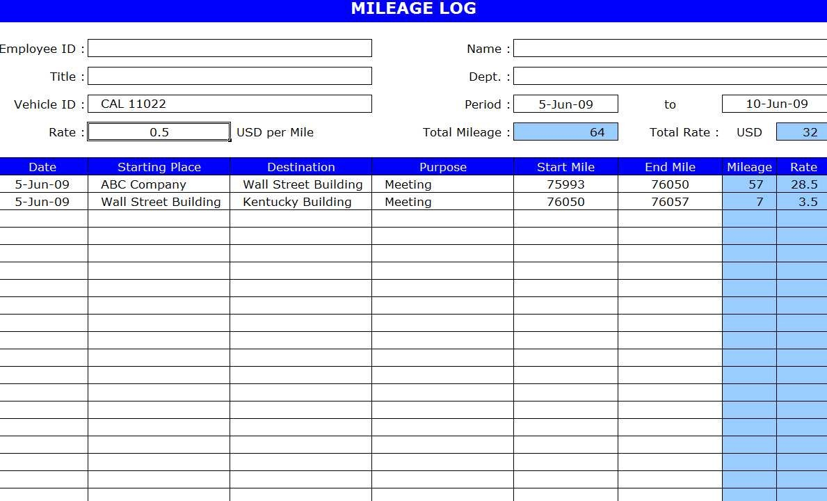 Free Mileage Log Template Excel
