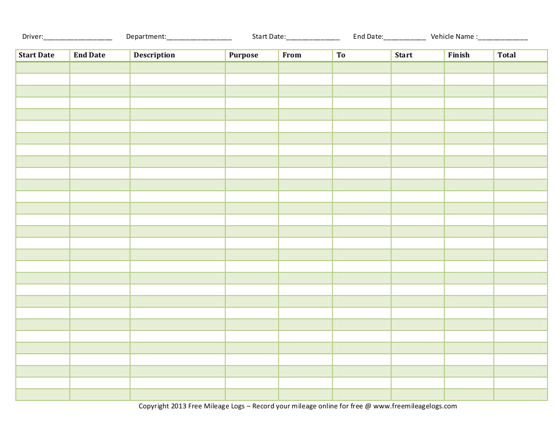 Free Mileage Log Template For Taxes