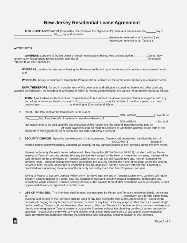 Free Nj Rental Lease Agreement Form