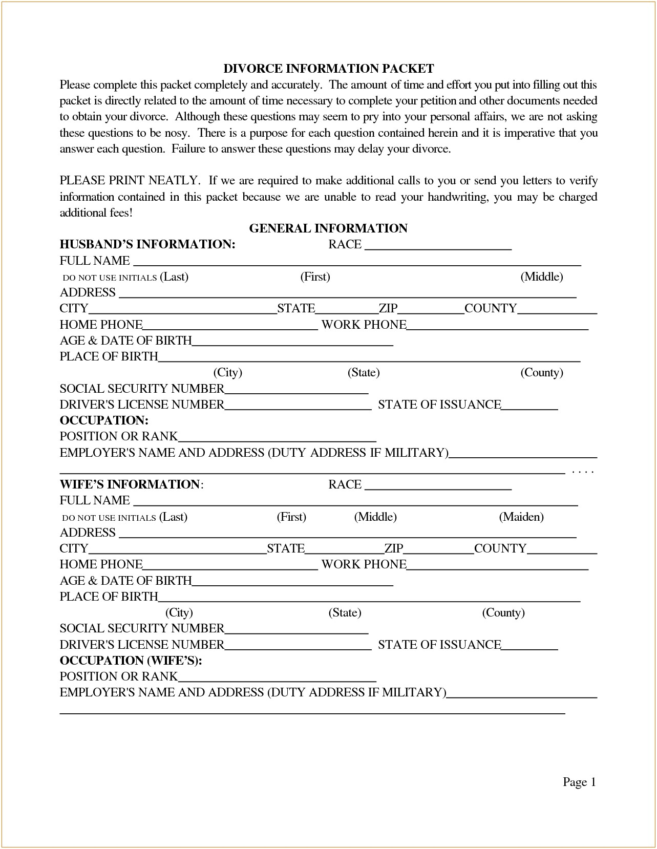 Nys Separation Agreement Forms 5 Free Printable Divorce Papers Divorce Document
