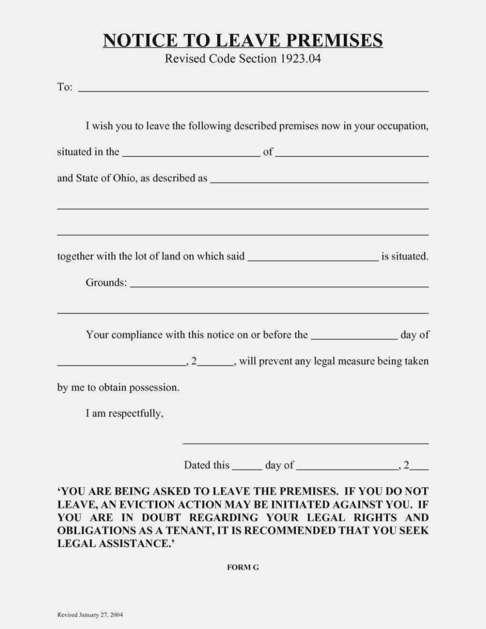 Free Ohio Eviction Complaint Form