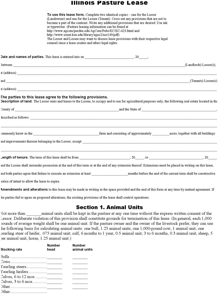 Free Pasture Lease Form Doc 64kb 5 Page S Grazing Lease Agreement Template