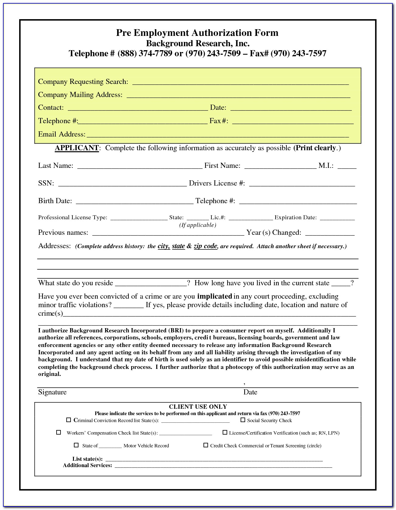 Free Pre Employment Background Check Authorization Form