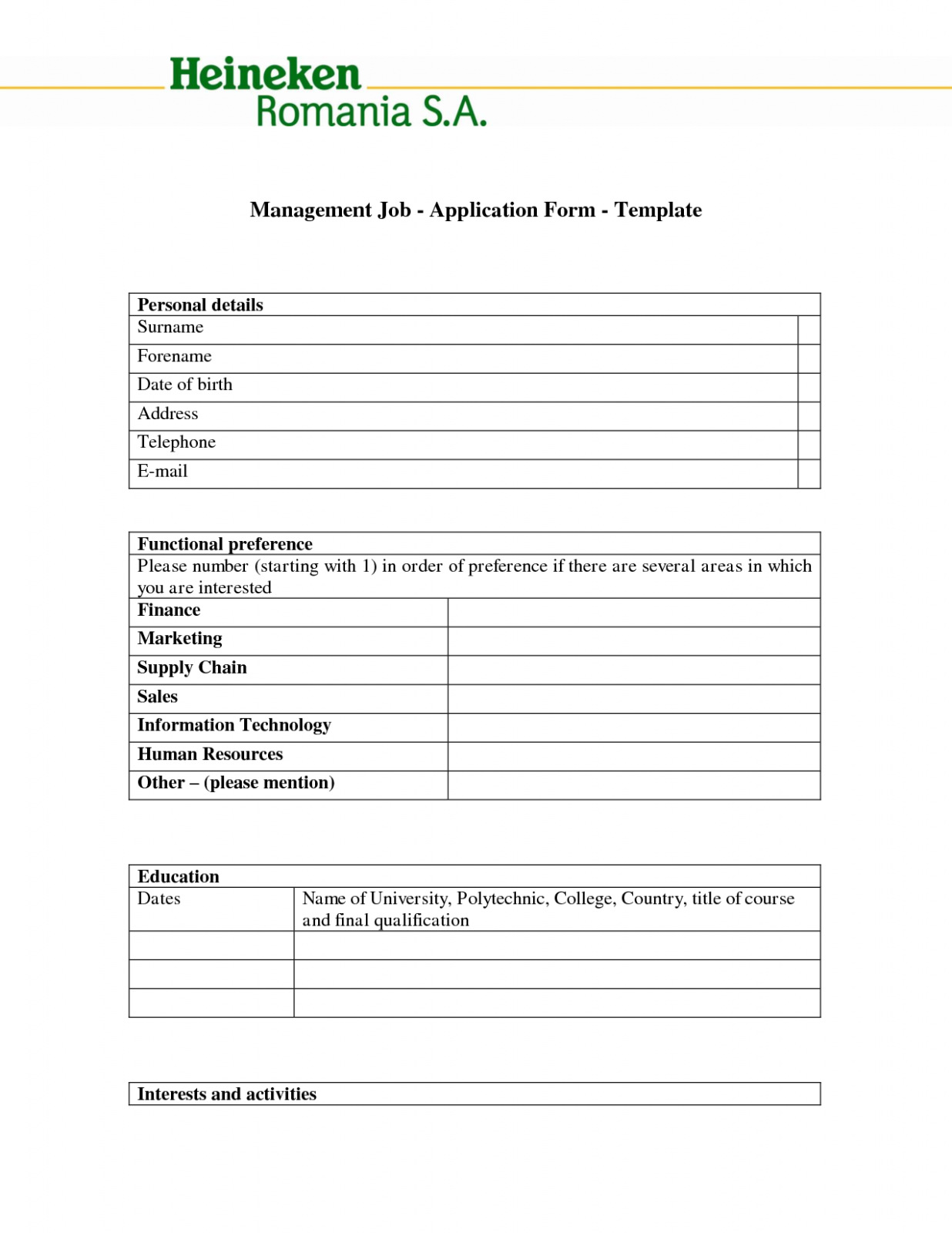 Download Best S Of Job Application Form Template Blank Job
