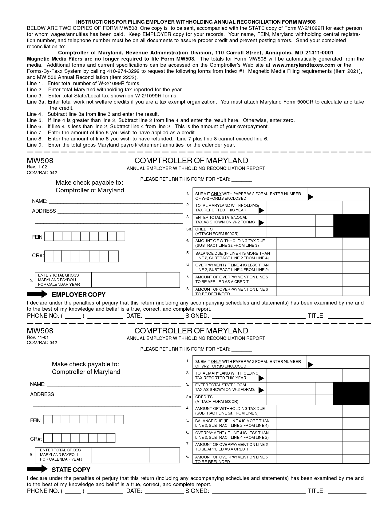 Free Printable Blank W2 Forms