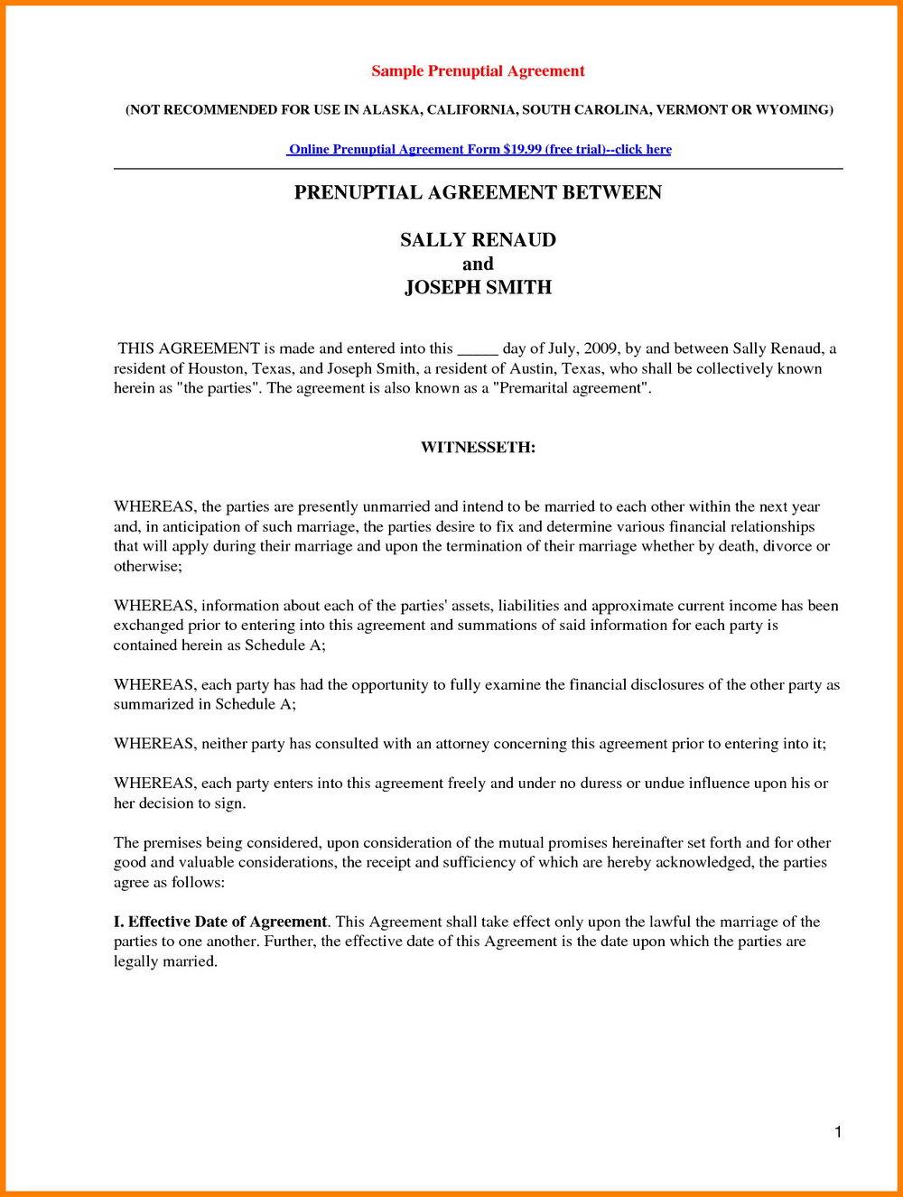 Free Printable California Prenuptial Agreement Form