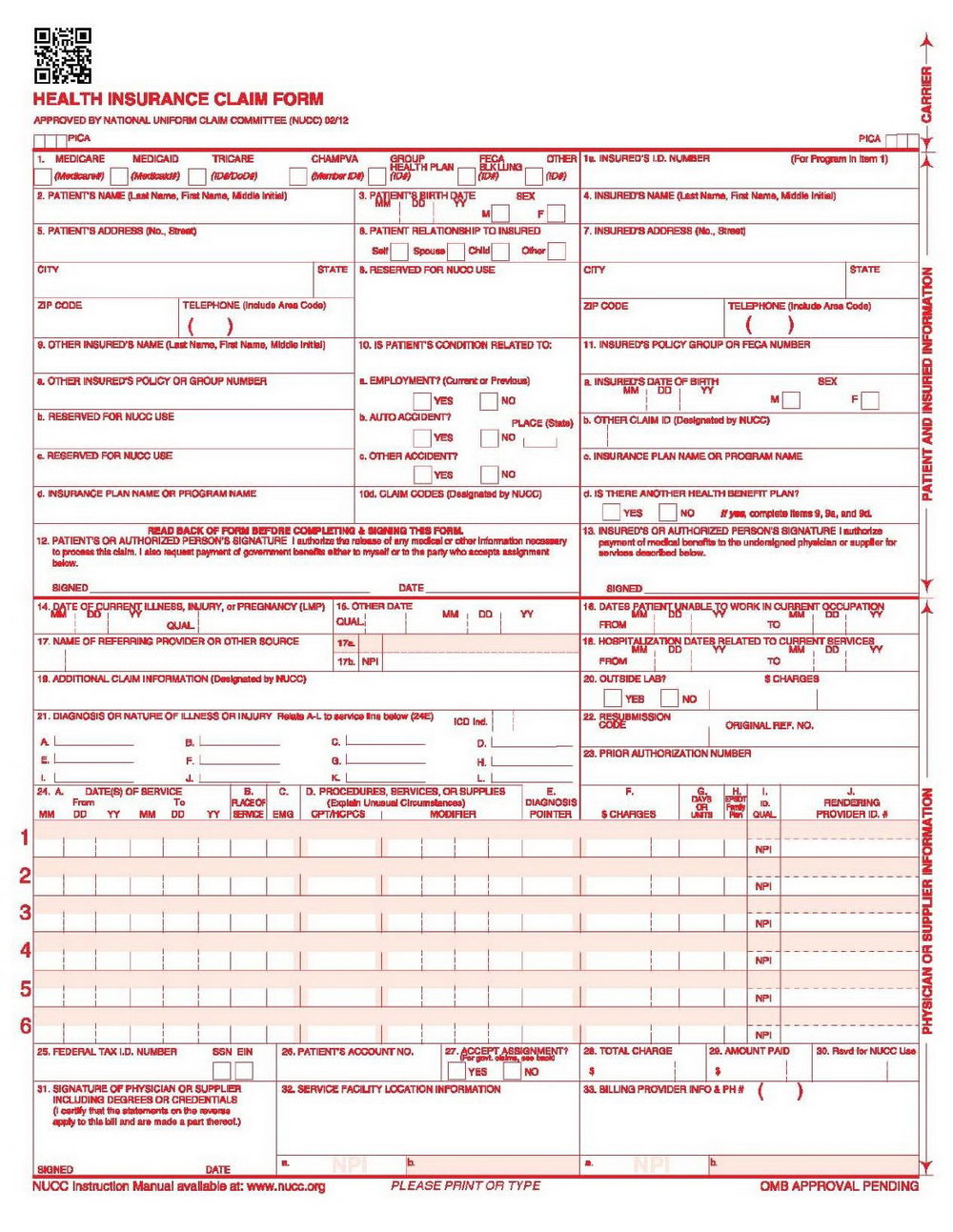 Free Printable Cms 1500 Forms