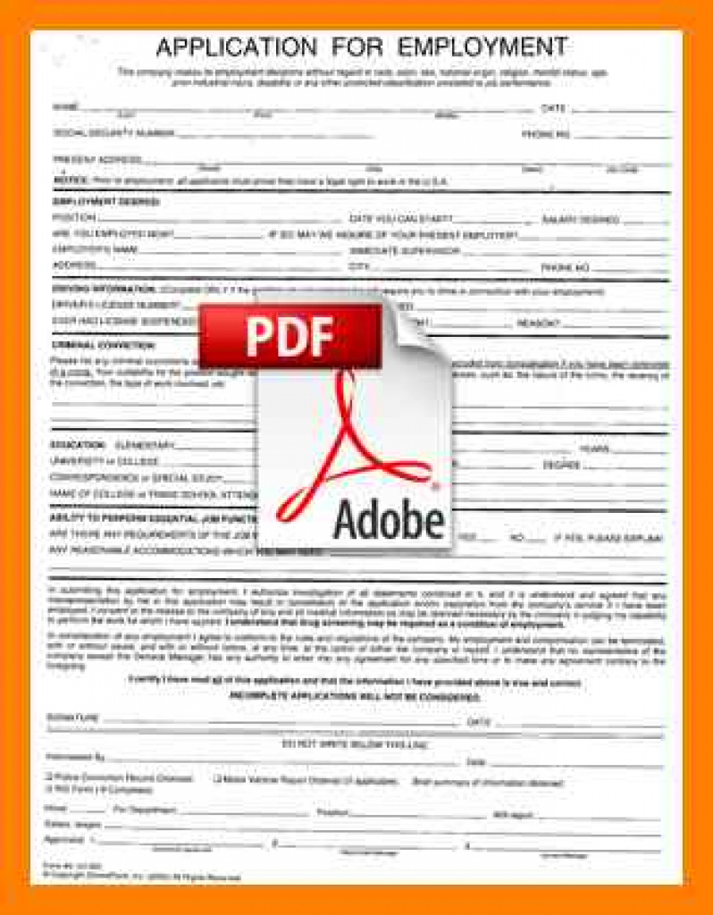 7+ Free Printable Employment Application Form Pdf | St Inside Free Printable Job Application Form Pdf