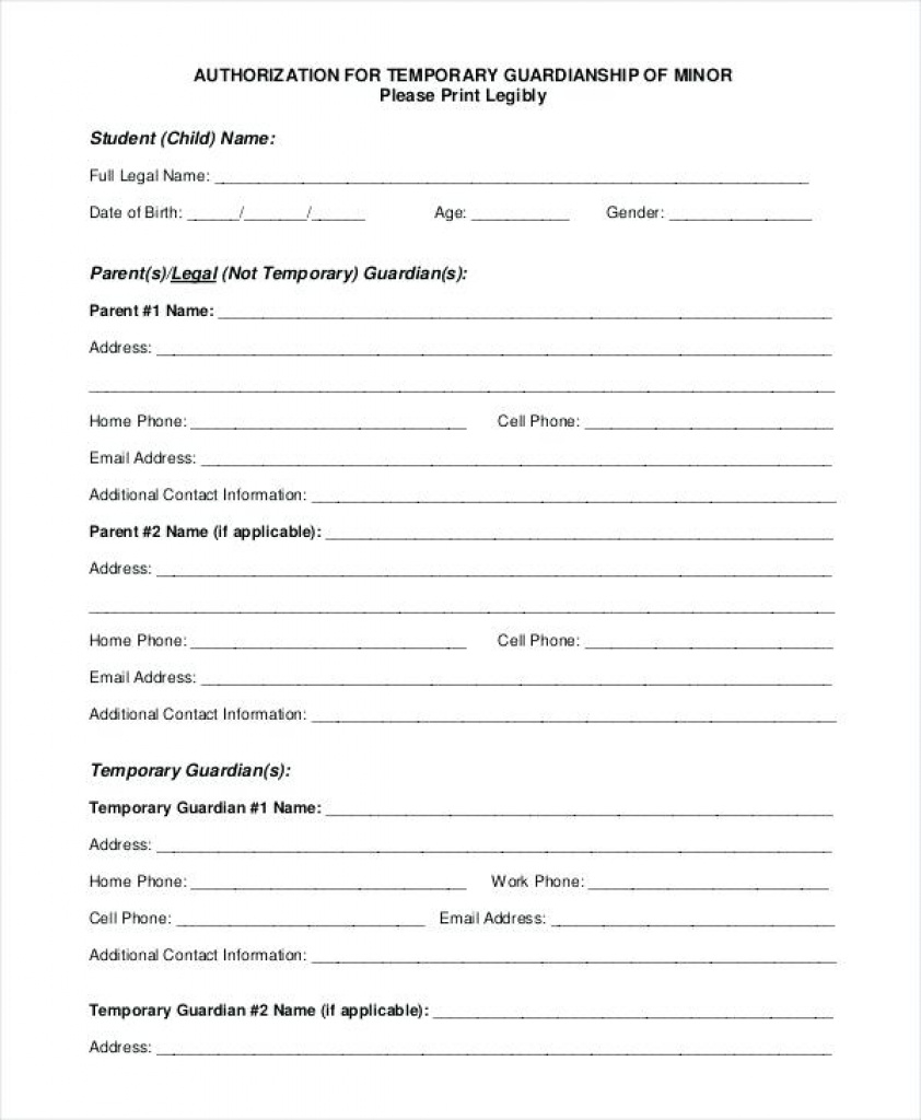 Temporary Guardianship Letter Template Free Printable Forms Texas Intended For Free Printable Guardianship Forms
