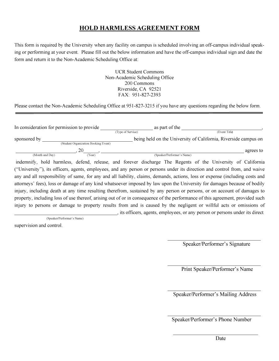 Free Printable Hold Harmless Agreement Form
