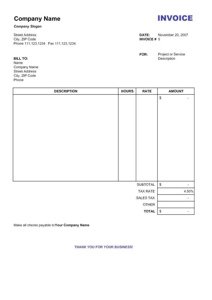 Free Printable Invoice Sample