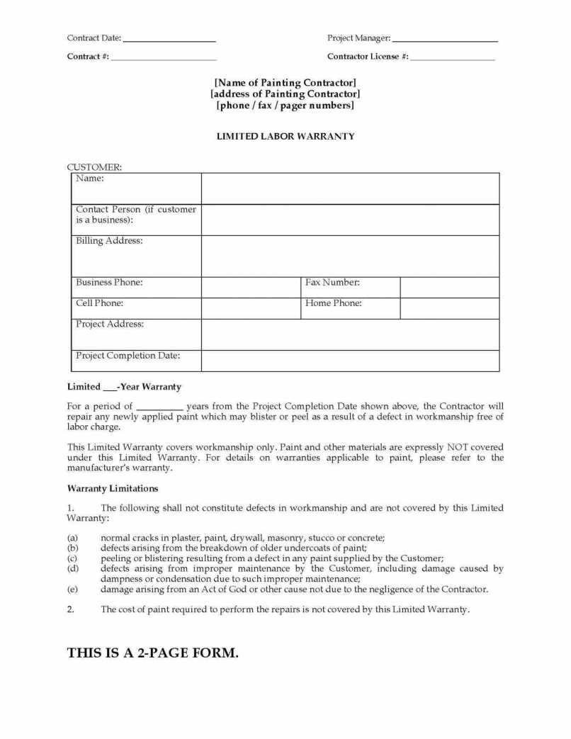 Painting Estimate Form : Sample Forms Contract Template Free