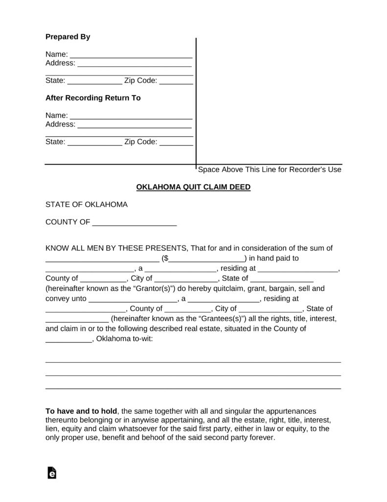 Free Printable Quit Claim Deed Form Oklahoma