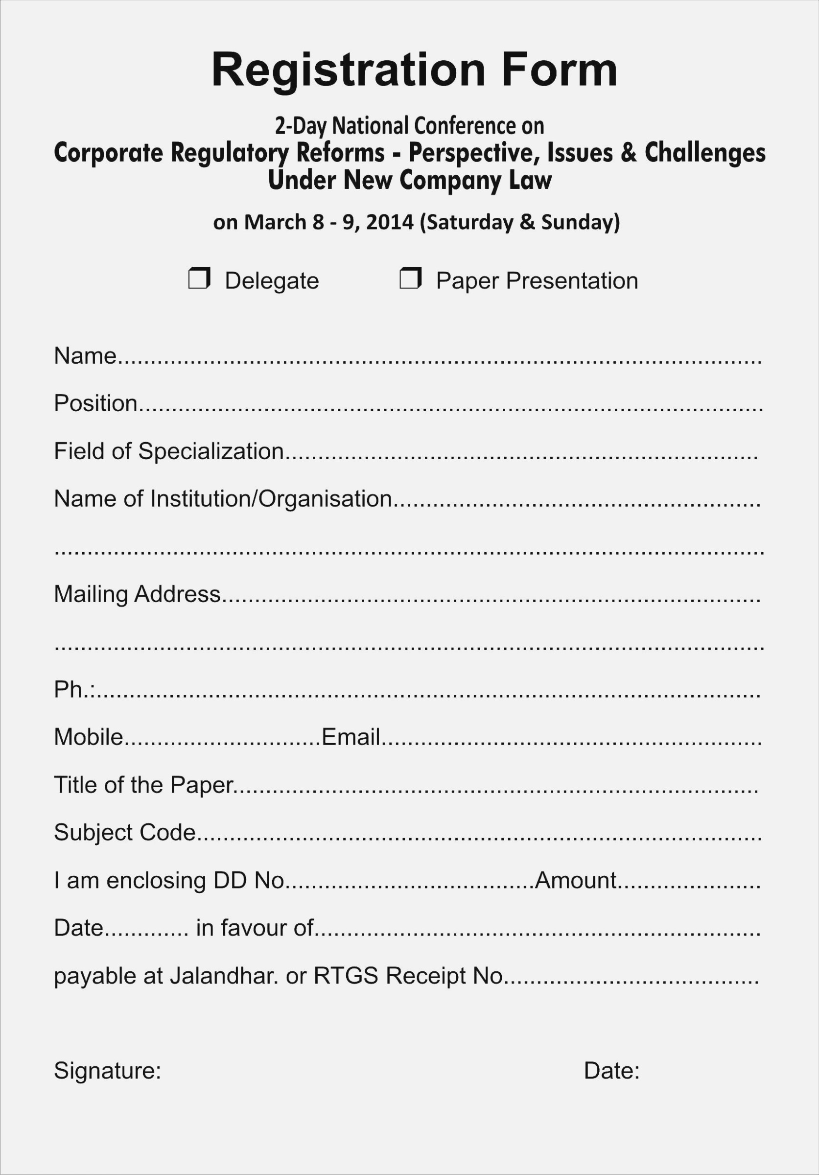 Free Printable Registration Forms