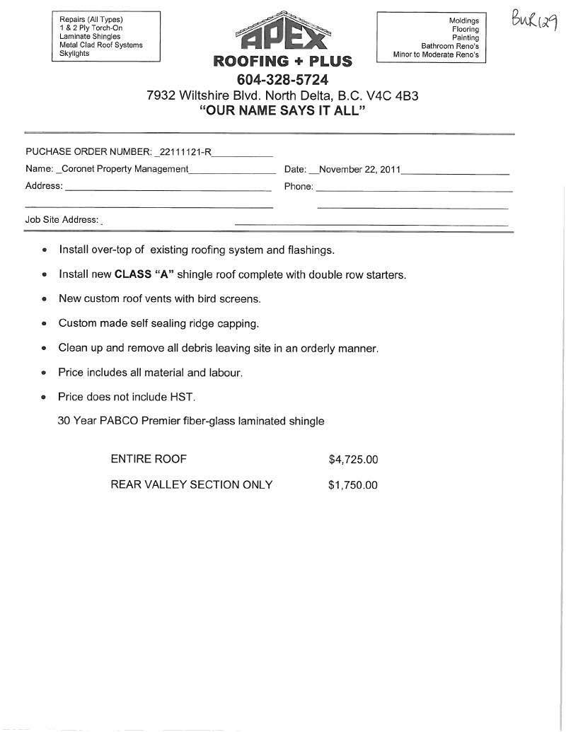 Free Printable Roofing Estimate Forms