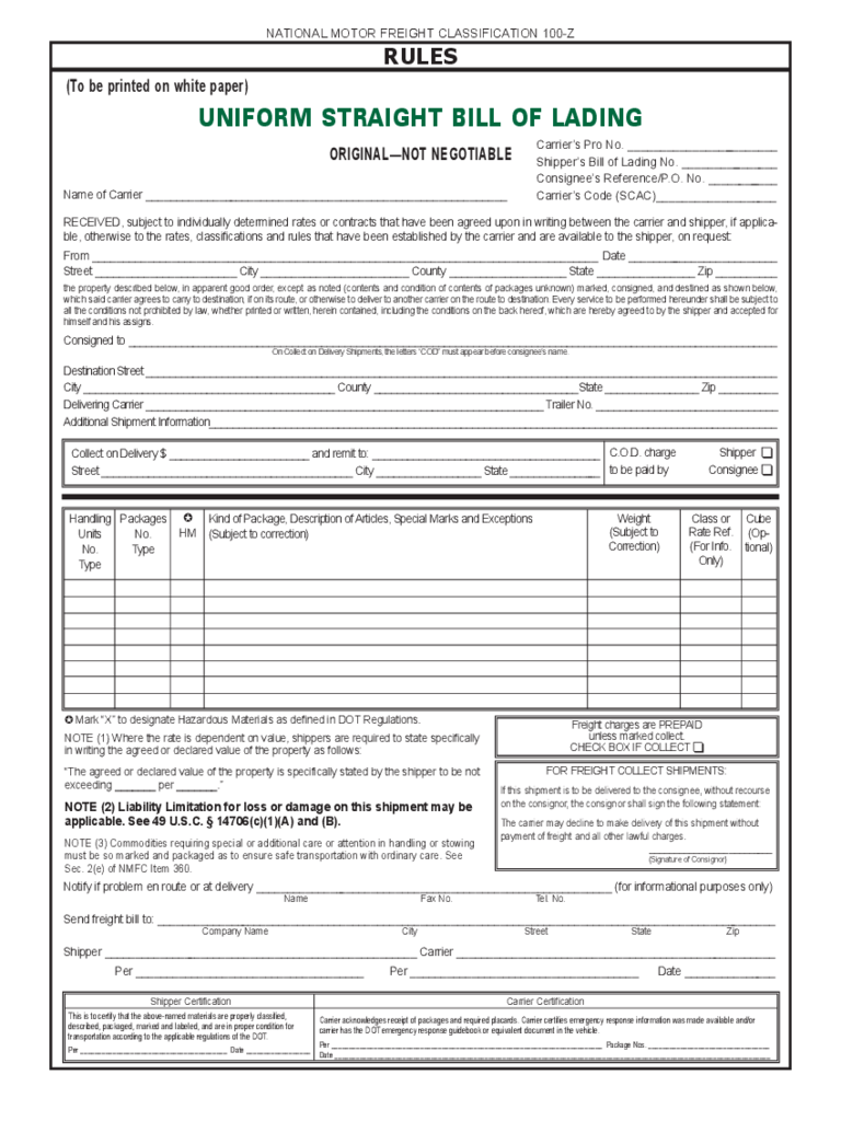 Free Printable Short Form Bill Of Lading