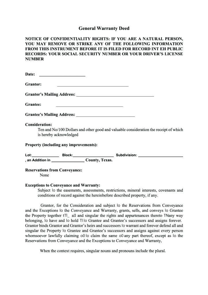 Free Printable Warranty Deed Form Texas