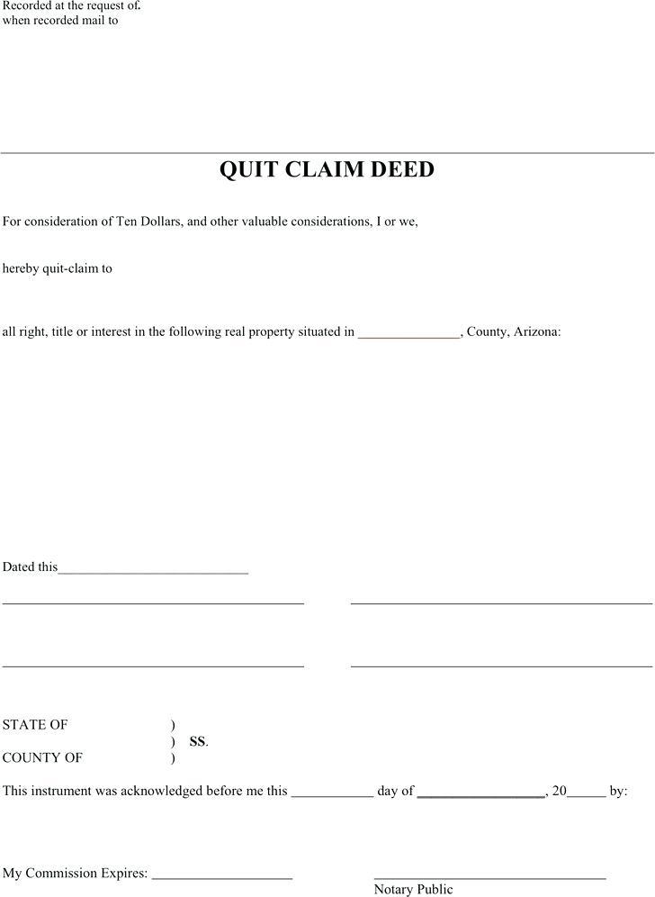 Free Quit Claim Deed Form Arizona