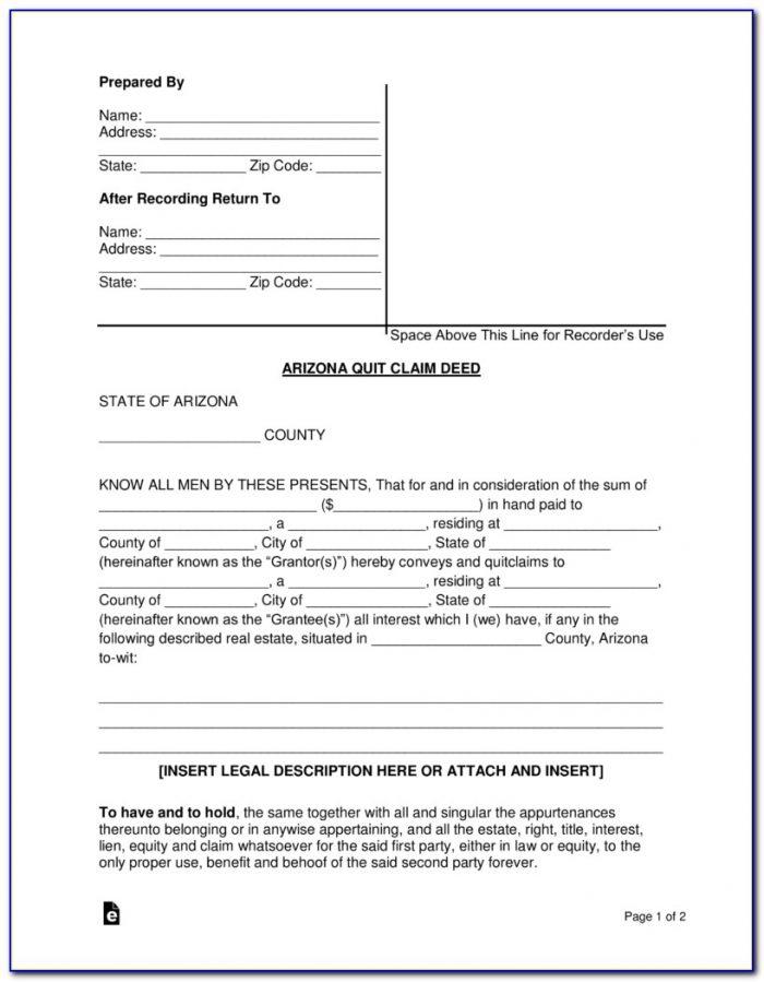 Free Quit Claim Deed Form Maricopa County Arizona