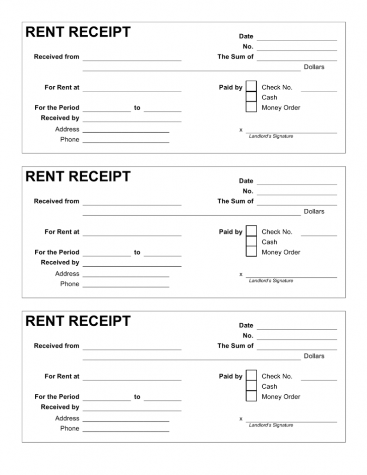 Free Rent Receipt Format India
