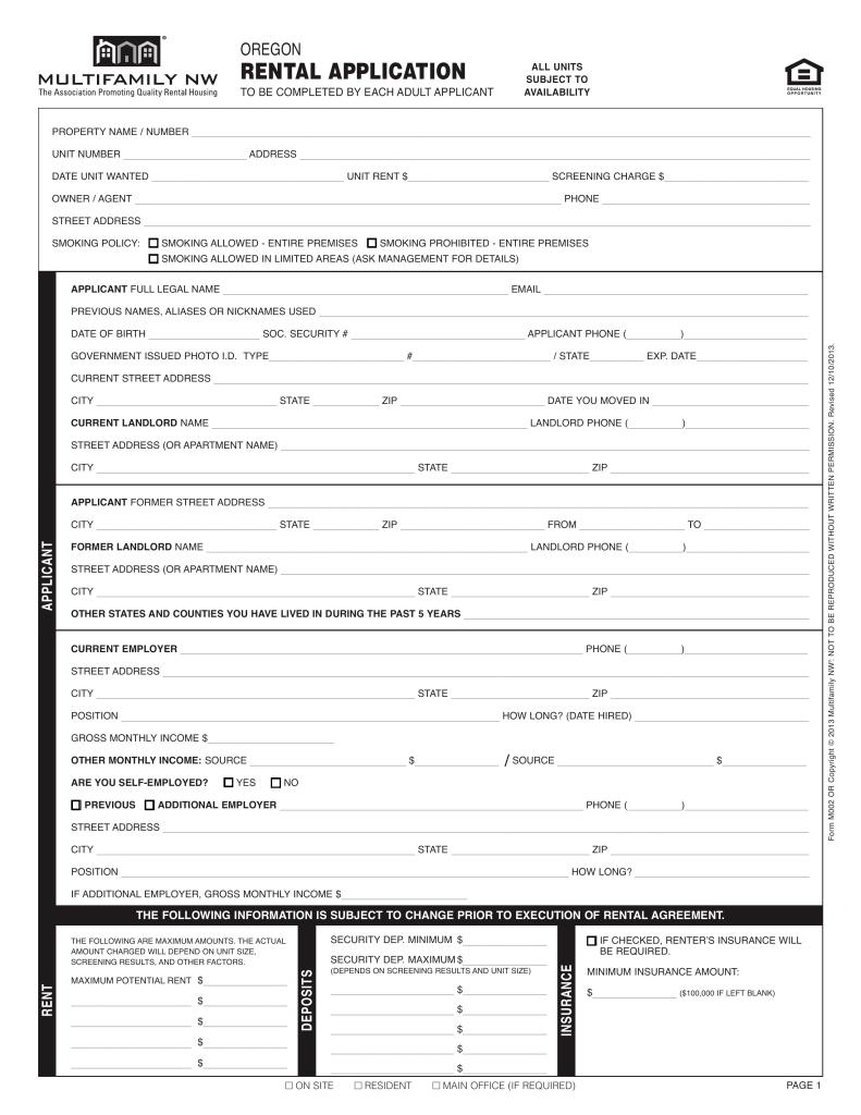 Free Rental Application Form Oregon