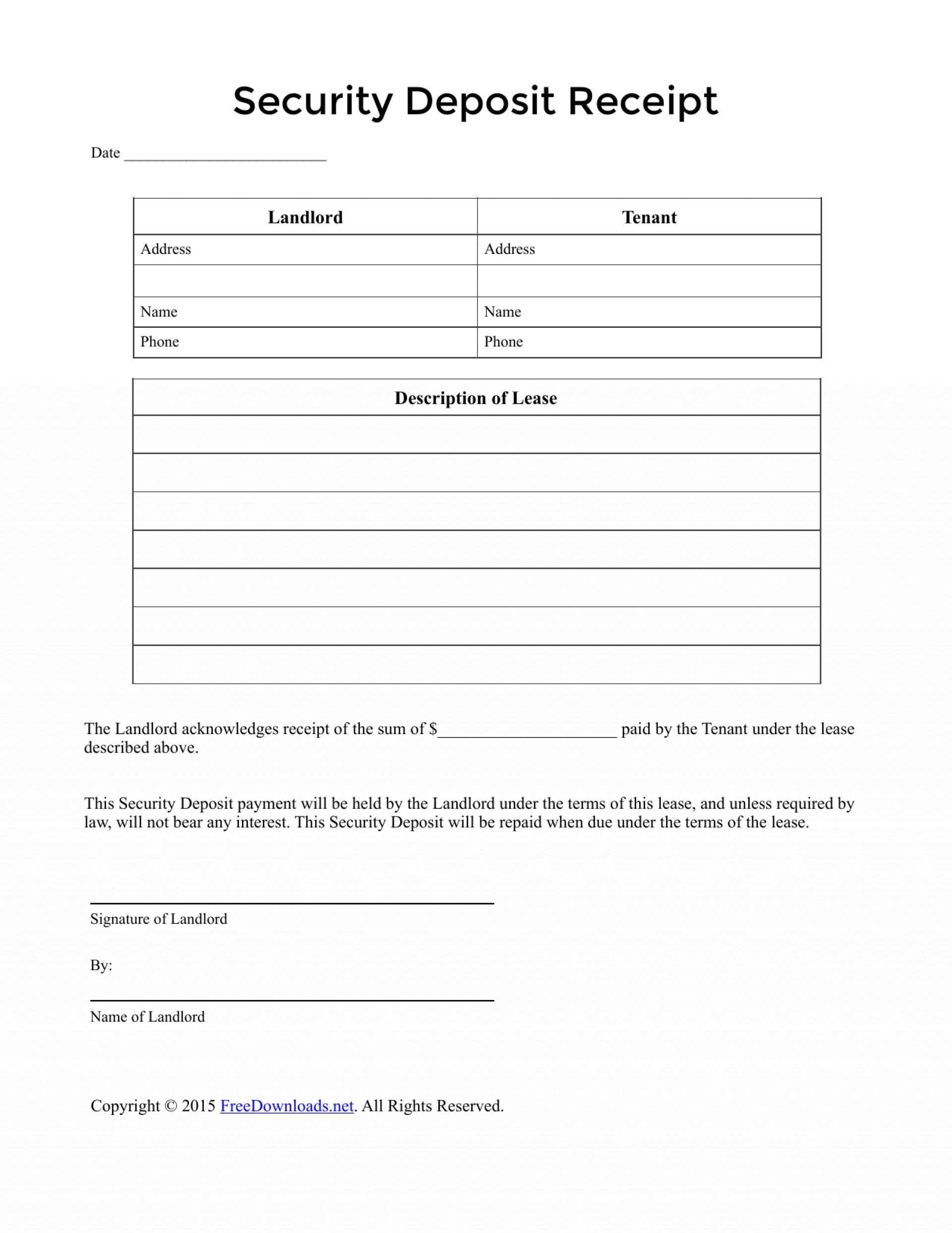Free Rental Deposit Receipt Form
