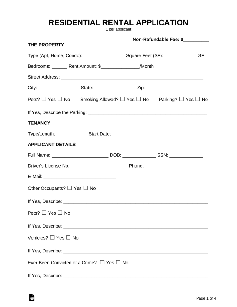 Free Rental Lease Application Form