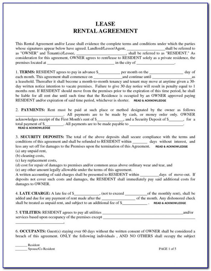 Free Residential Lease Agreement Forms Print