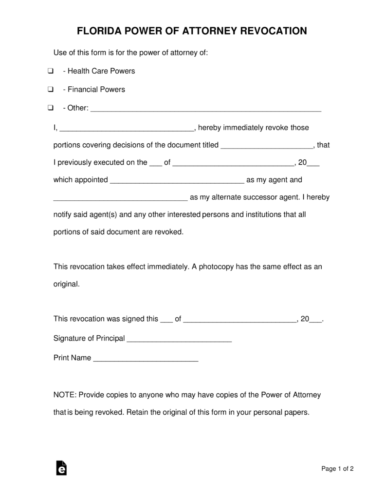 Free Revocation Of Power Of Attorney Form Florida
