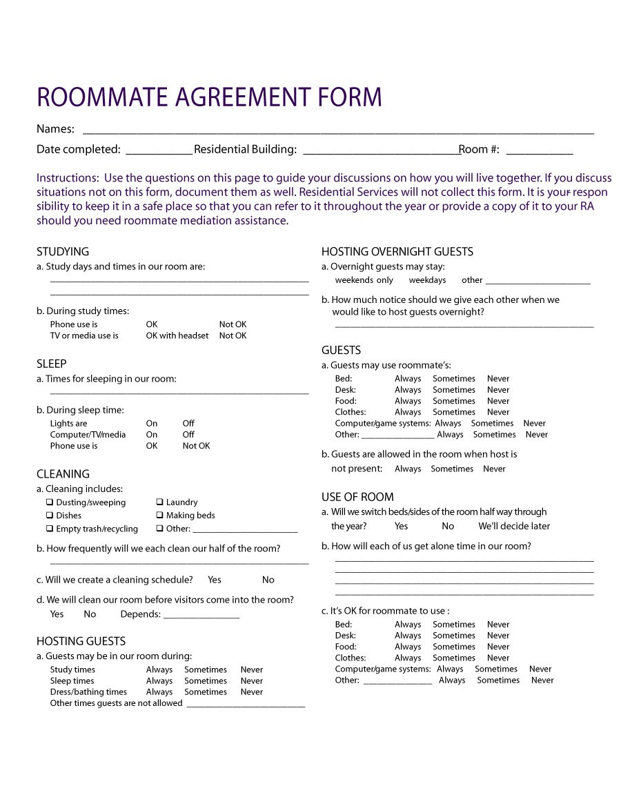 40 Free Roommate Agreement Templates Forms Word Pdf Free Printable Roommate Rental Agreement
