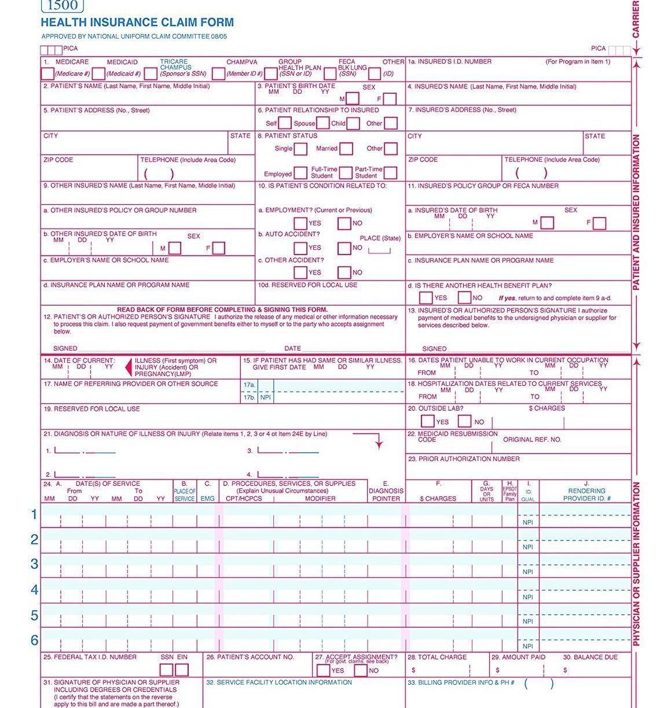 Free Sample Cms 1500 Claim Form