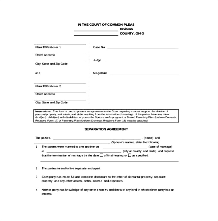 Free Separation Agreement Form Bc