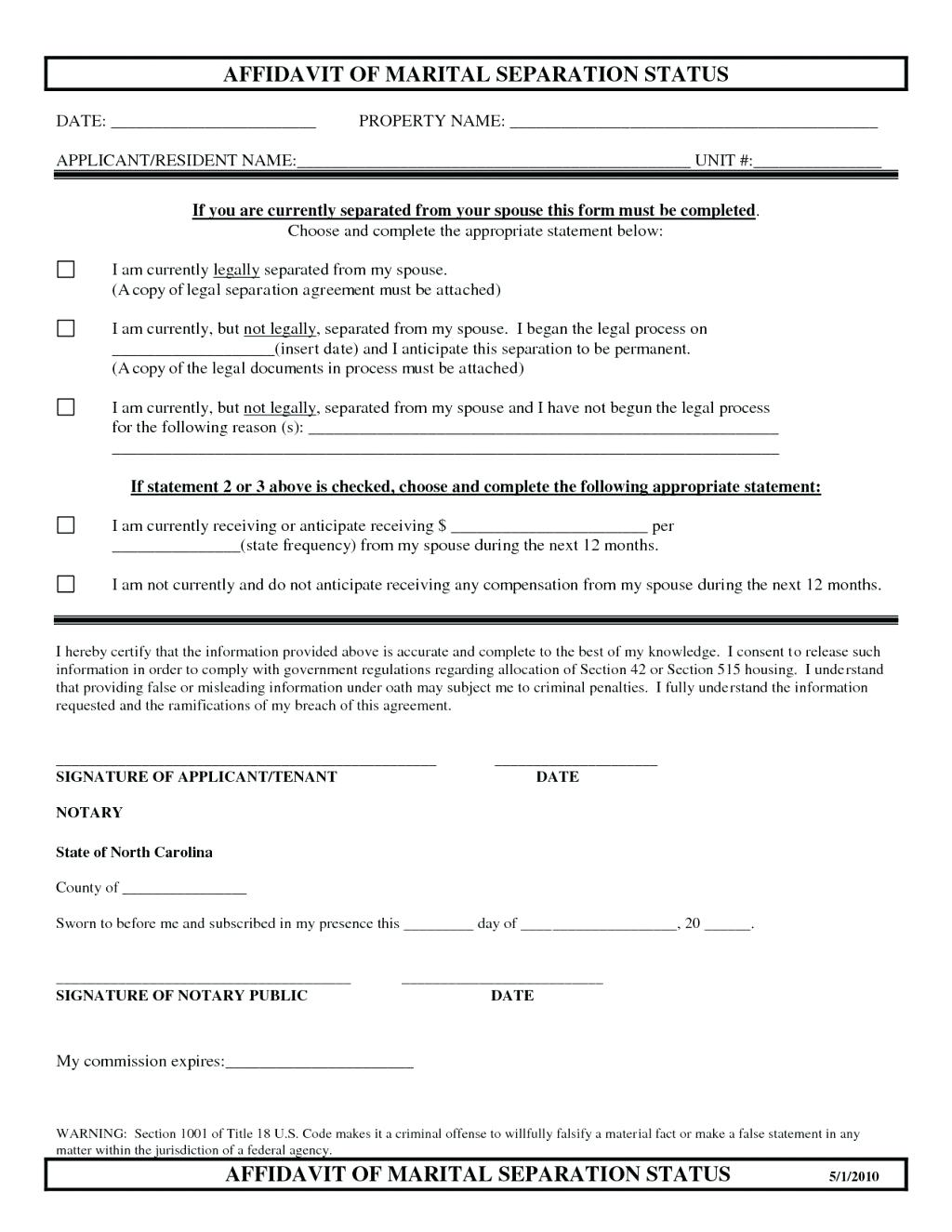Free Separation Agreement Form California