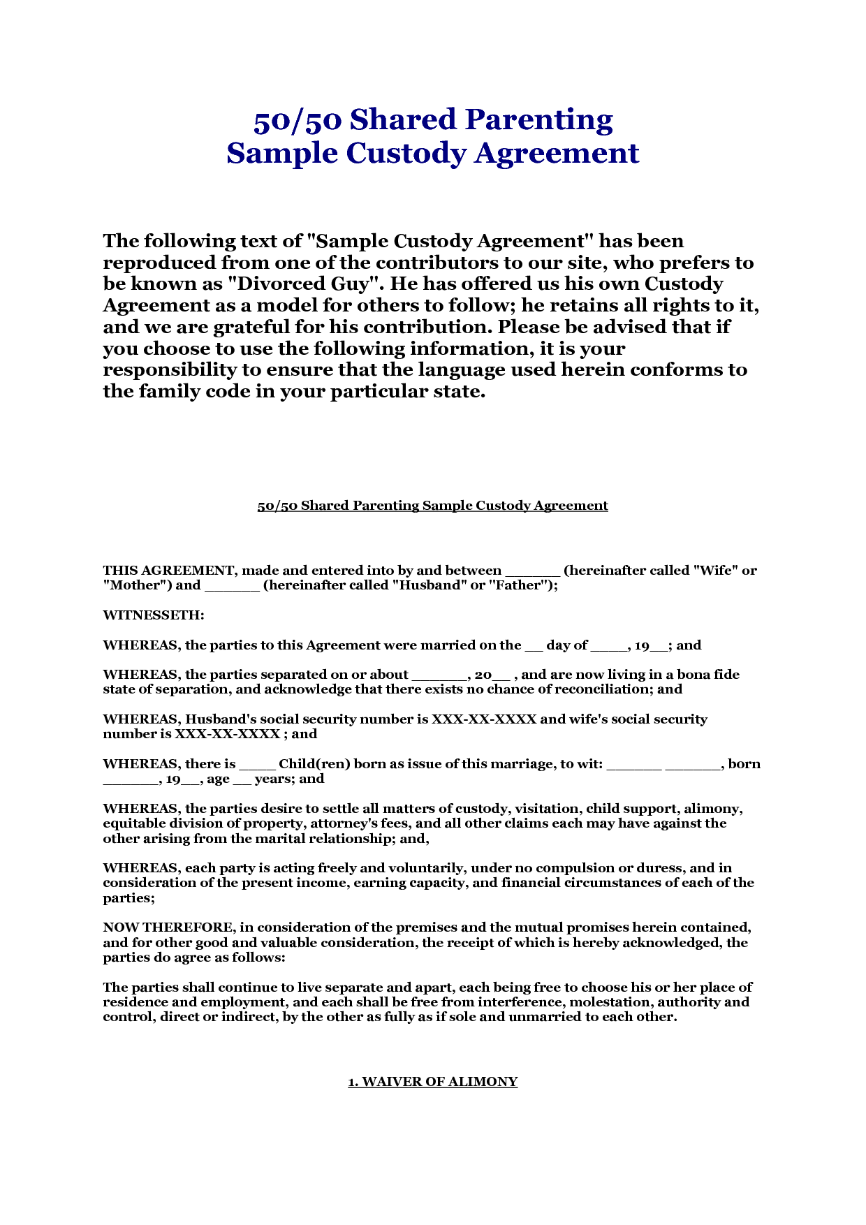 Free Separation Agreement Form Massachusetts