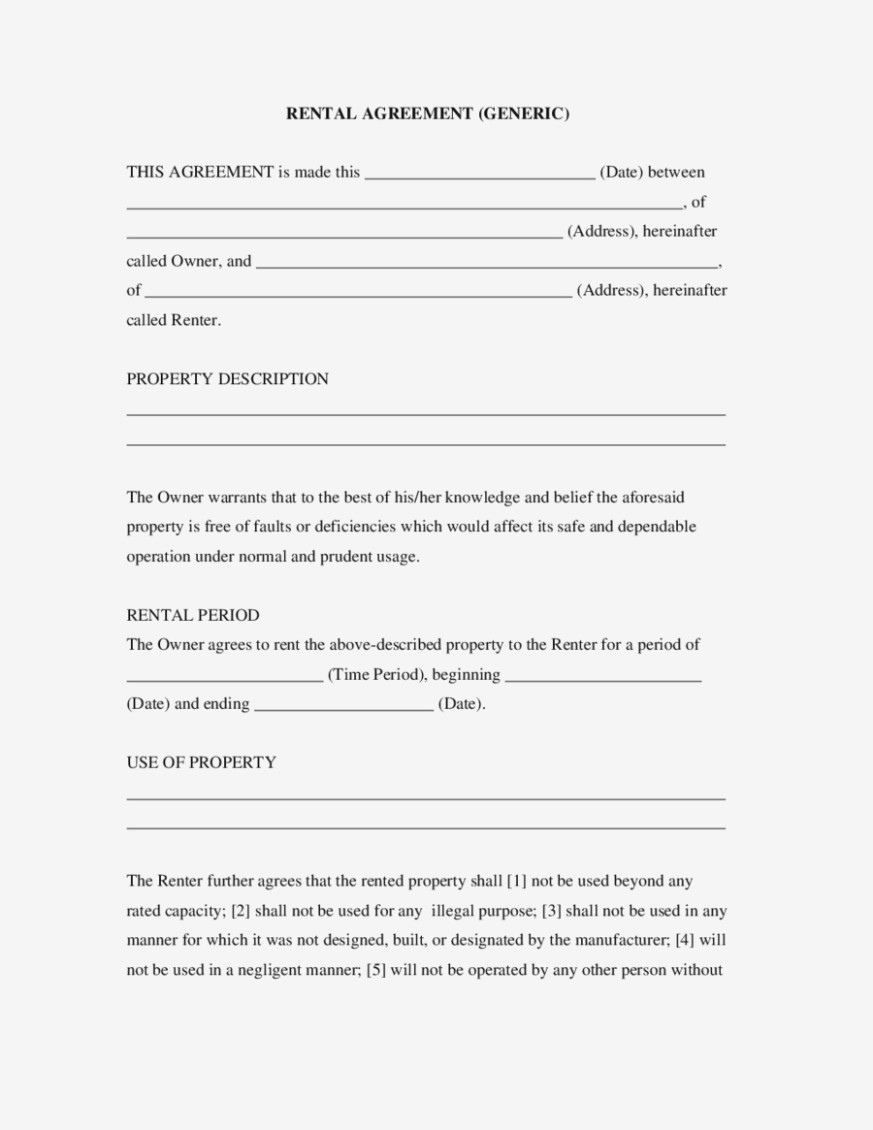 Free Simple Rent Agreement Form