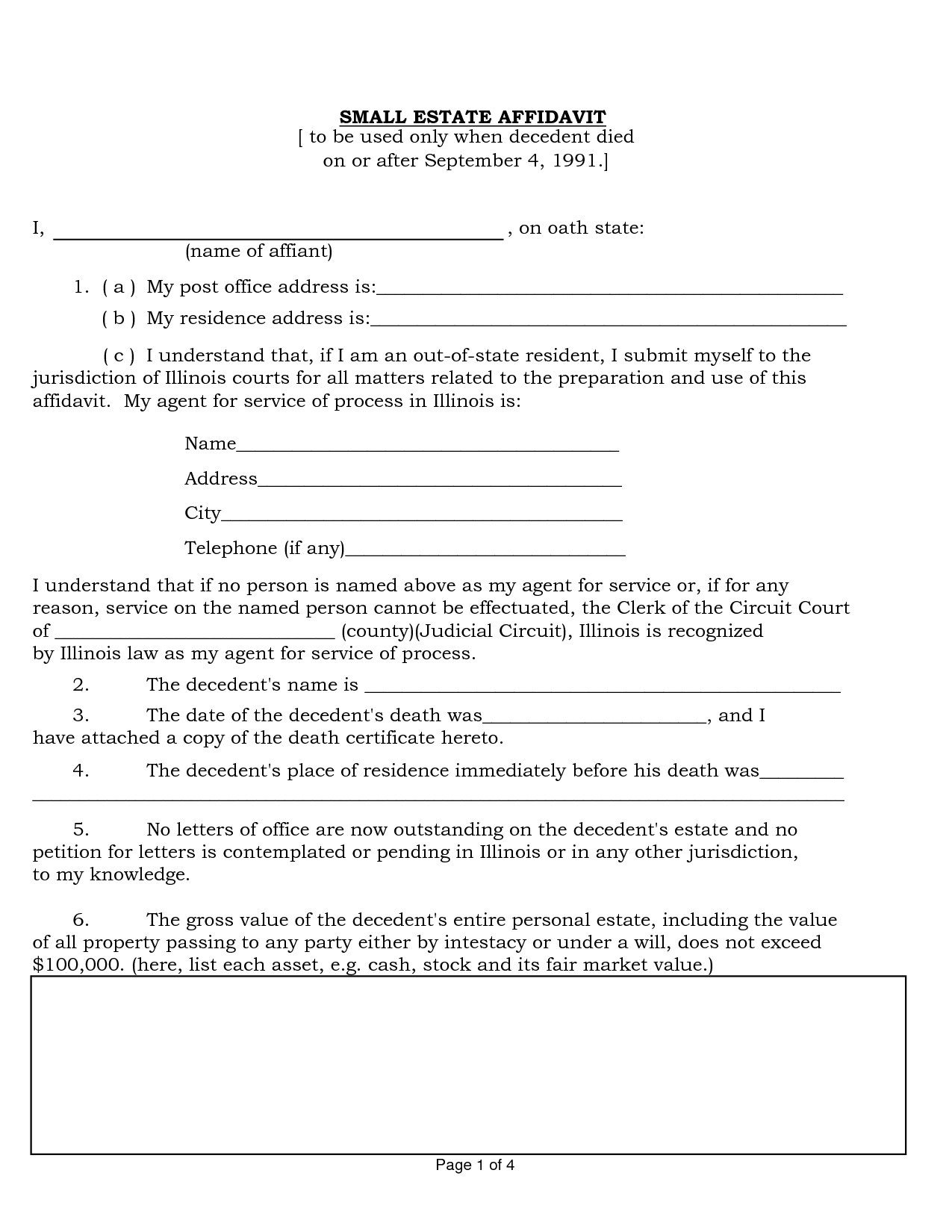 Free Small Estate Affidavit California 2012 Form
