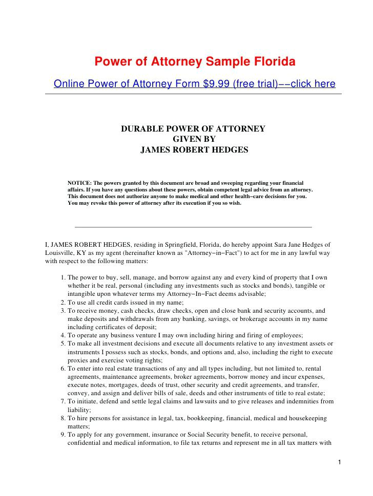 Free Statutory Durable Power Of Attorney Forms