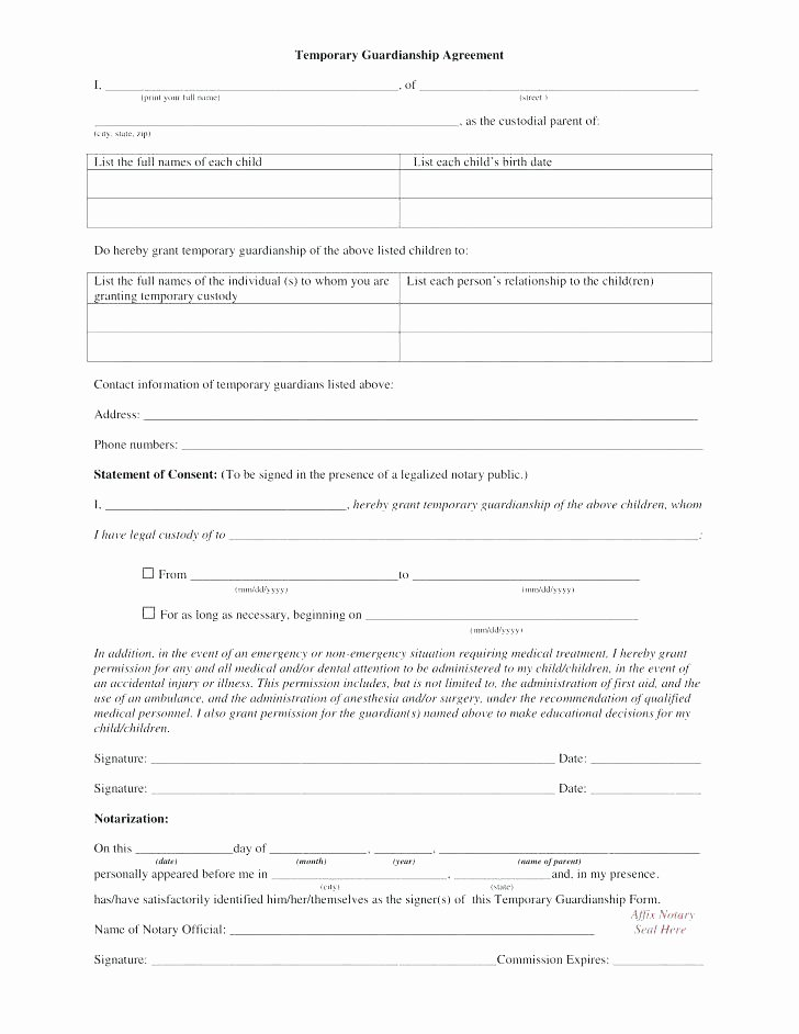 Free Temporary Child Guardianship Forms