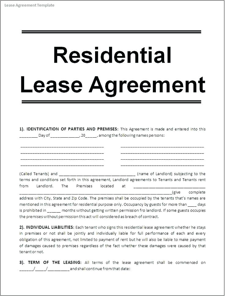 Free Tenant Agreement Form Alberta