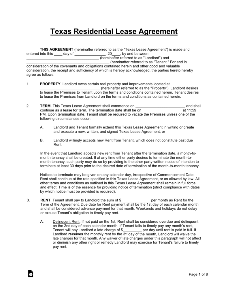 Free Texas Lease Application Form