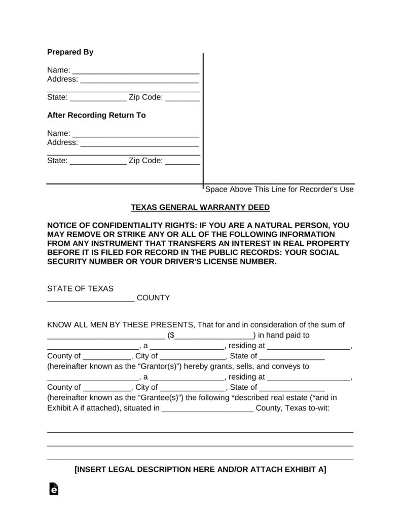 Free Warranty Deed Forms