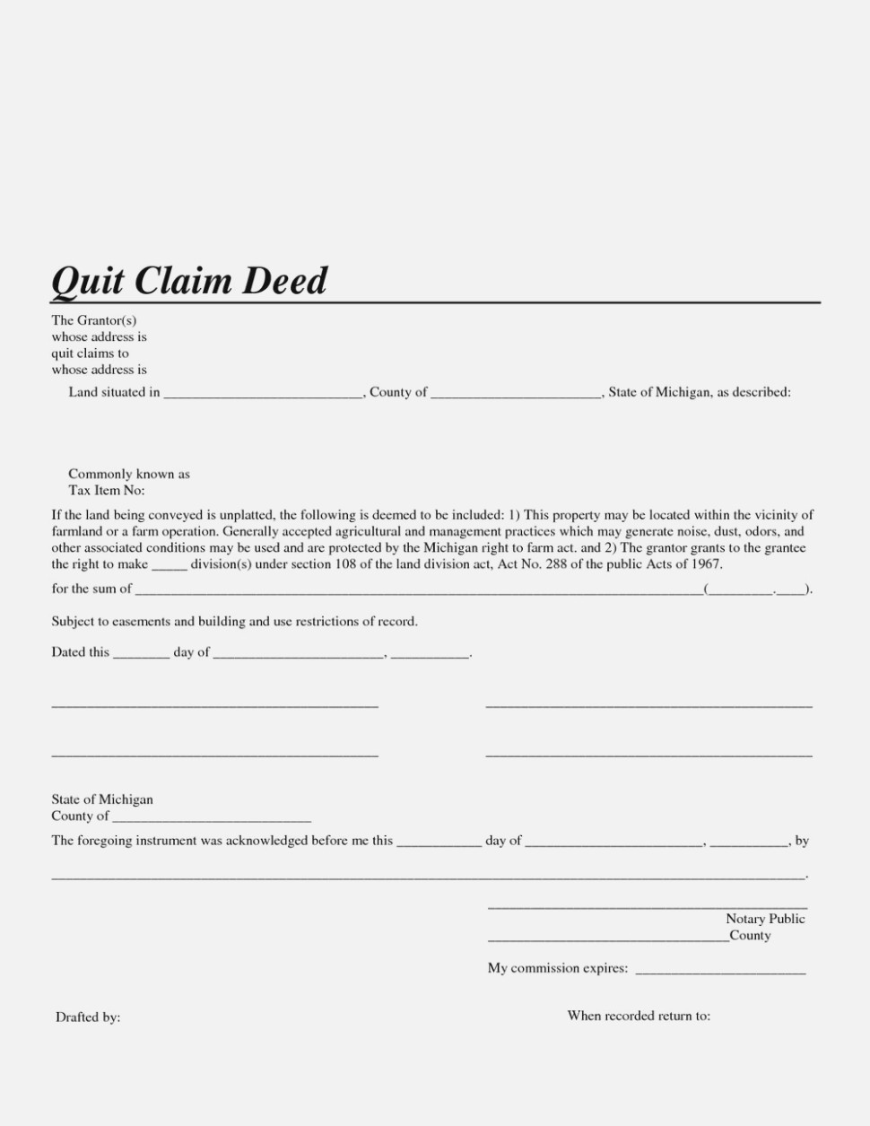 Free Wayne County Michigan Quit Claim Deed Form