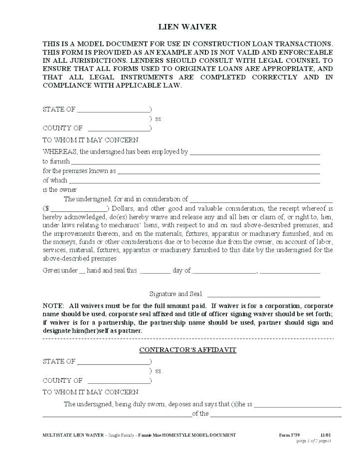 Free Wisconsin Construction Lien Waiver Form