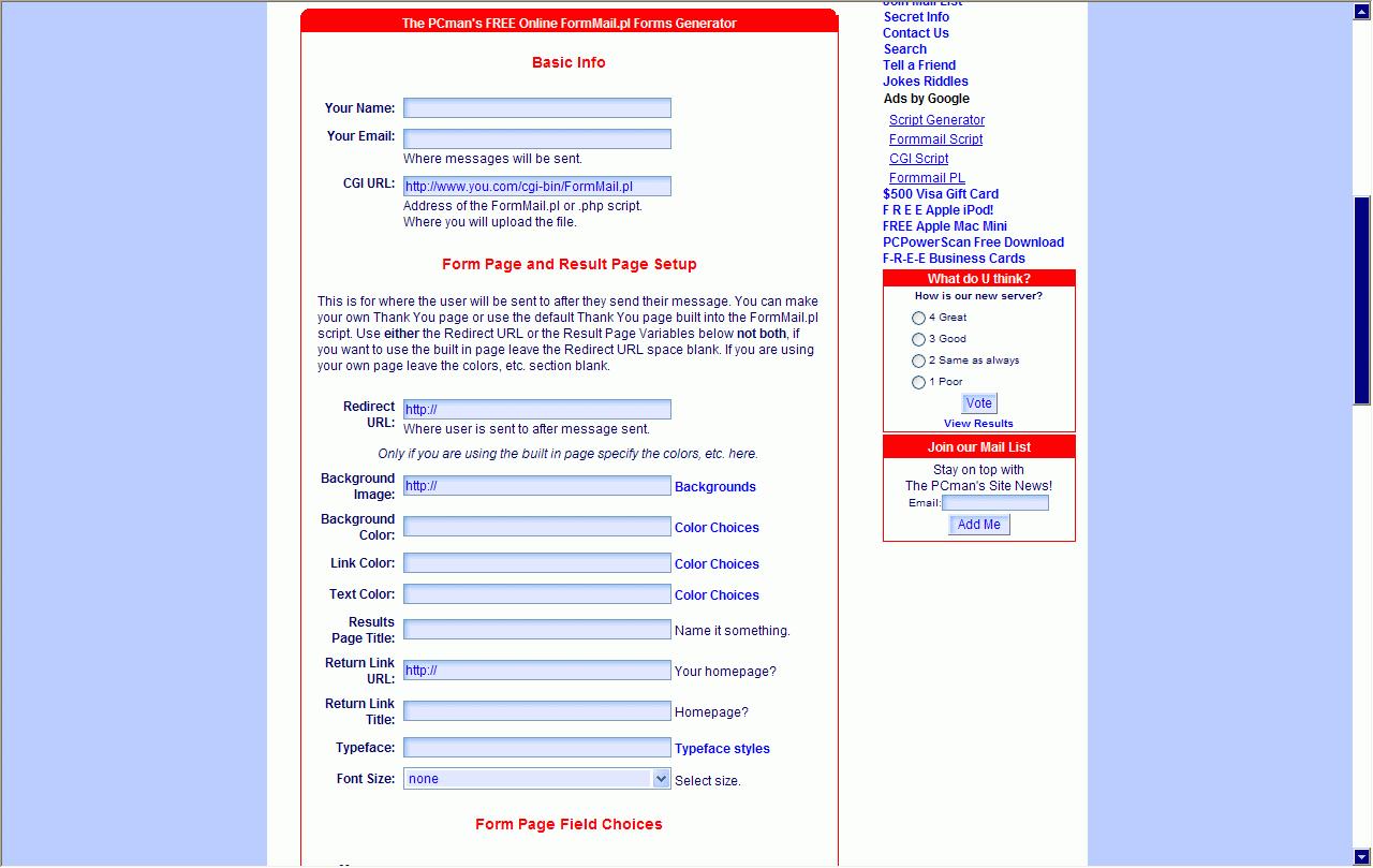 Freeware Web Form Builder Software