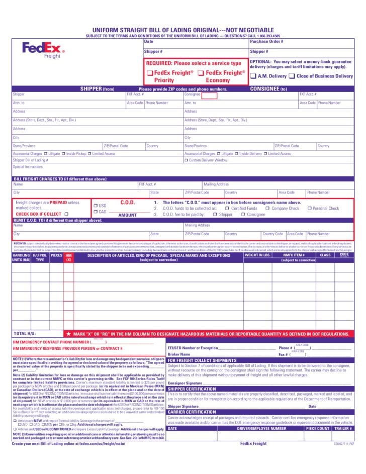 Freight Bill Of Lading Template