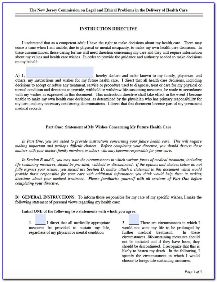 Ga Advance Directive For Health Care Form