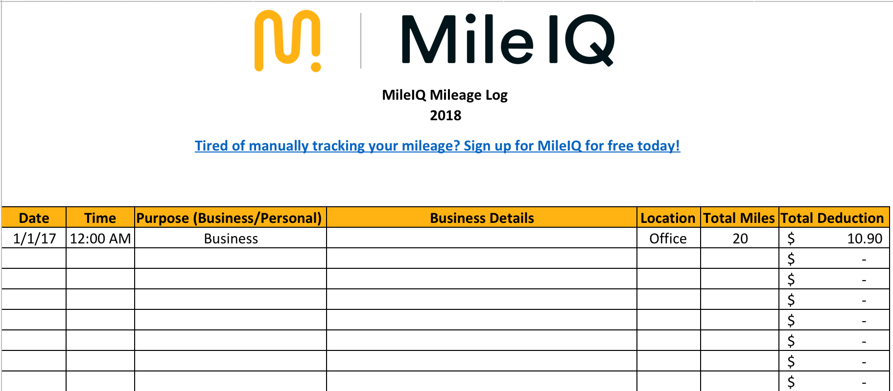 Gas Mileage Sheet For Taxes